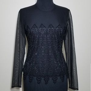 JR Nites Caliendo Top Black Sheer Lace Long Sleeve